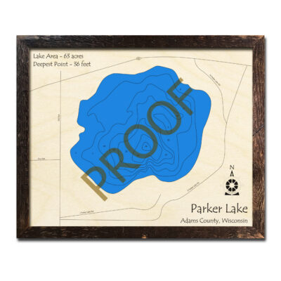 Parker Lake 3d wooden map