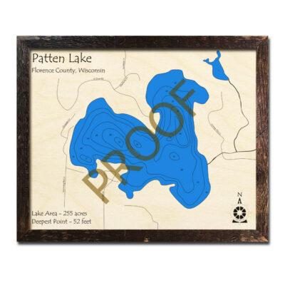 Patten Lake 3d wood map