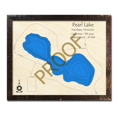 Pearl Lake 3d wood map in wisconsin