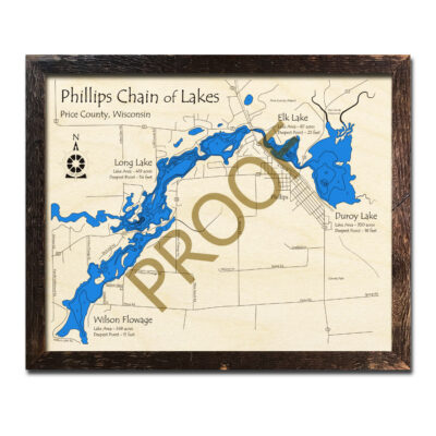 Phillips Chain of Lakes 3d wood maps wisconsin