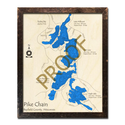 Pike Chain of Lakes 3d wood map