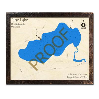 Pine Lake 3d Wood Map Wisconsin
