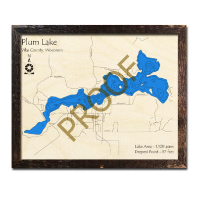 Plum Lake WI 3d wood map