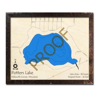 Potters Lake 3d wood map