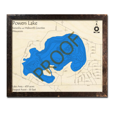 Powers Lake WI 3d wooden map