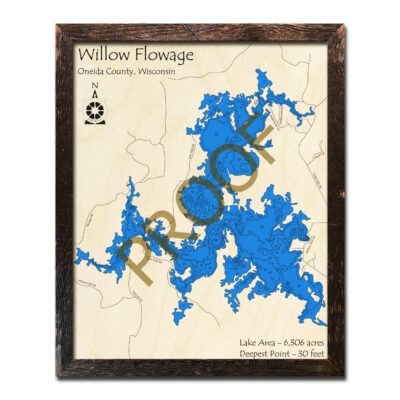 Willow Flowage 3d wood map