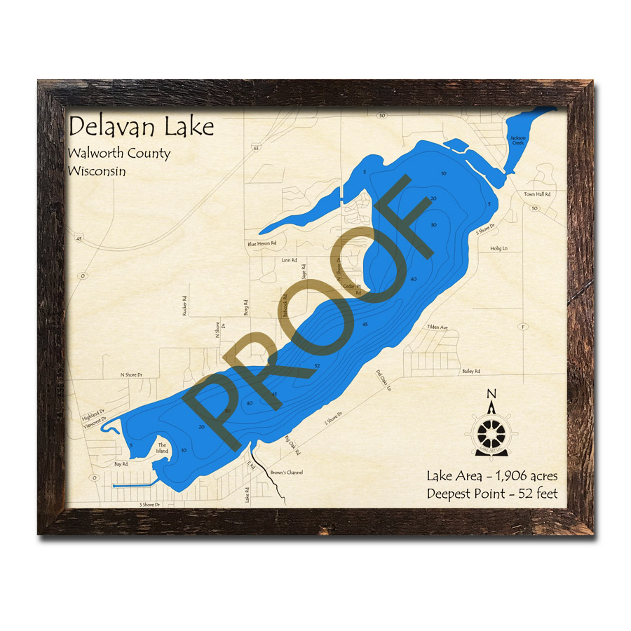 Lake Delavan 3d wooden map