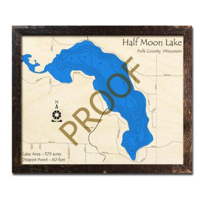 Half Moon Lake WI 3d wood map