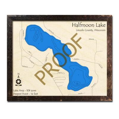 Halfmoon Lake 3d wood map