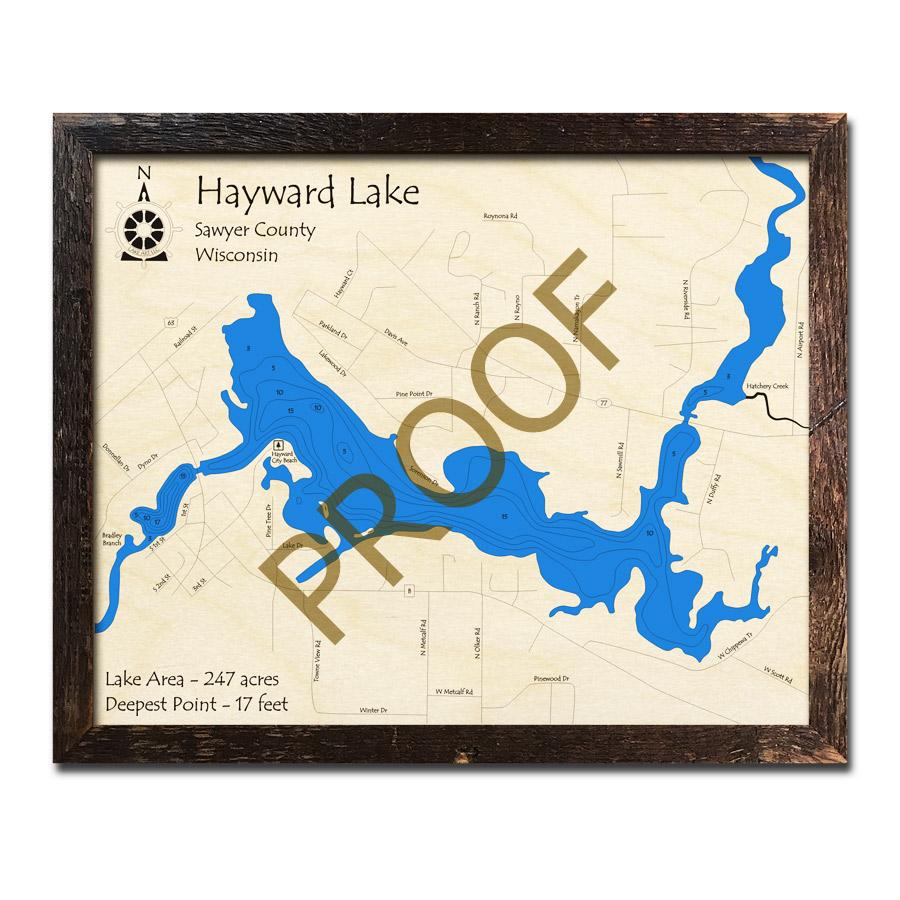 Hayward Lake Wi Wood Map 3d Nautical Wood Charts