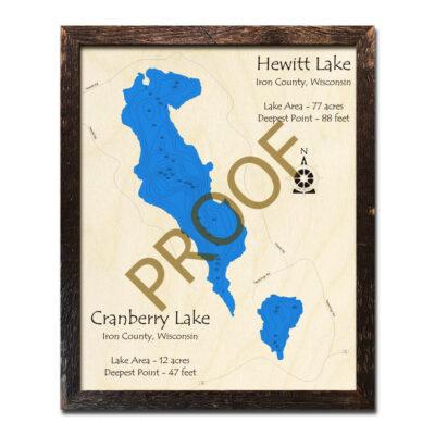 Hewitt Lake Cranberry Lake WI 3d wood map