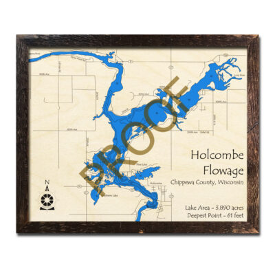 Holcombe Flowage 3d wood map