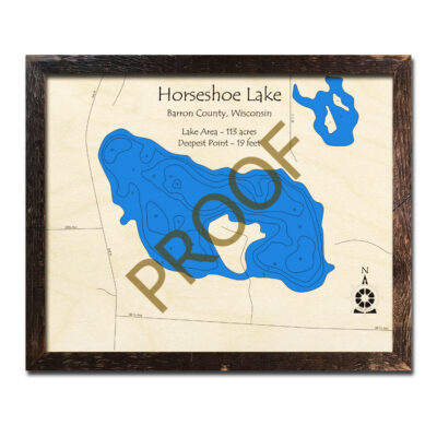 Horseshoe Lake WI 3d wood map