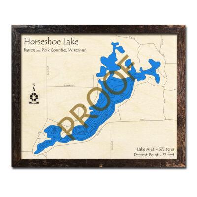 Horseshoe Lake 3d wood map
