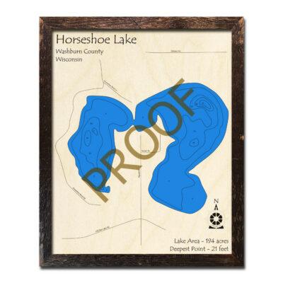 Horseshoe Lake WI Wooden Map