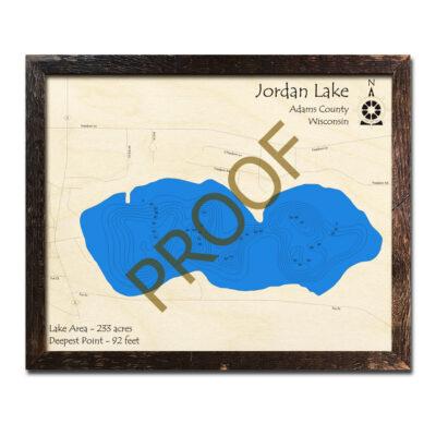 Jordan Lake WI 3d wood map