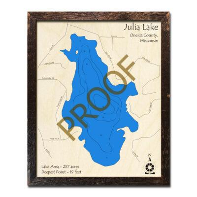 Julia Lake WI 3d wooden map