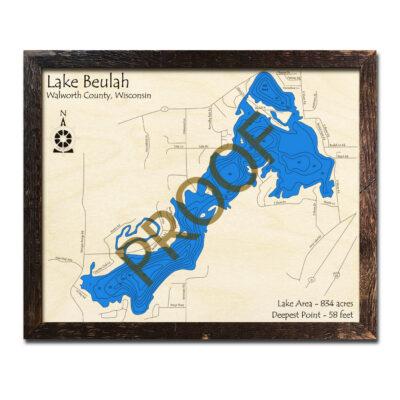 Lake Beulah 3d wood map