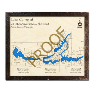 Lake Camelot 3d wood map