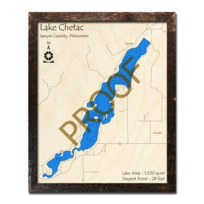 Lake Chetac 3d wood map