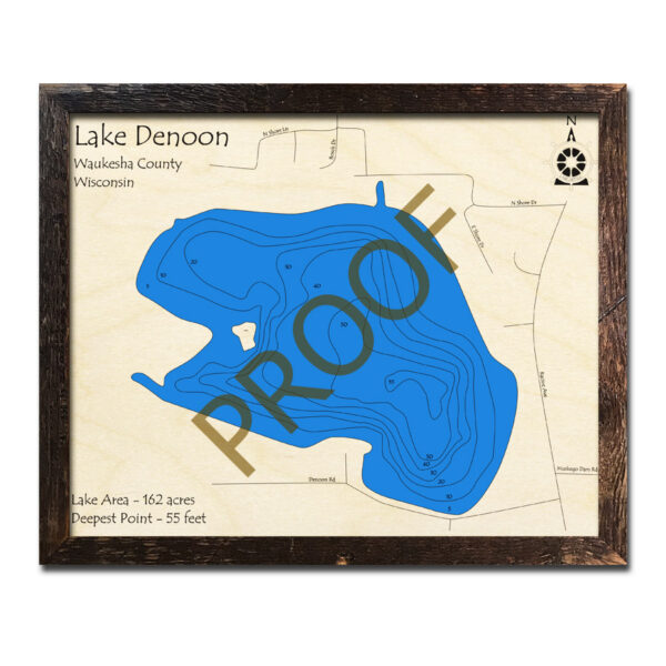 Lake Denoon 3d wood map