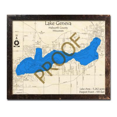 Lake Geneva 3d wood map