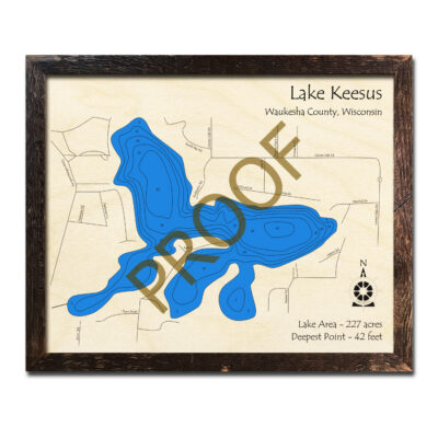 Lake Keesus 3d wood map