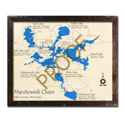 Manitowish Chain of lakes 3d wooden map