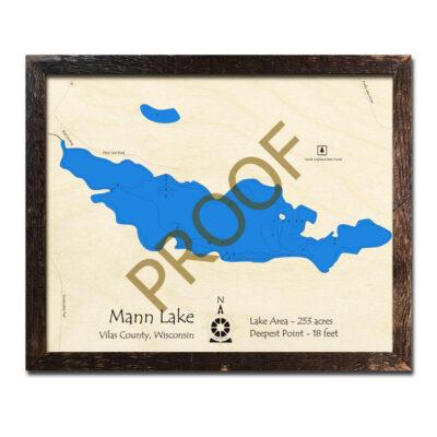 Mann Lake 3d wood map