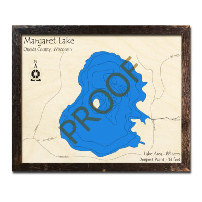 Margaret Lake WI 3d wood map