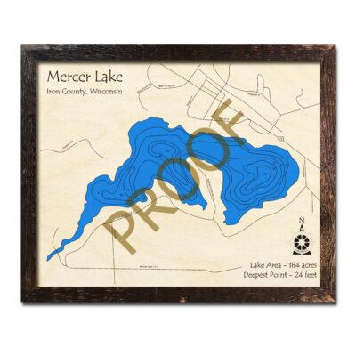 Mercer Lake 3d wood map