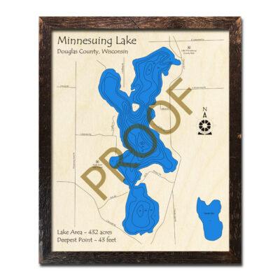 Minnesuing Lake 3d wood map