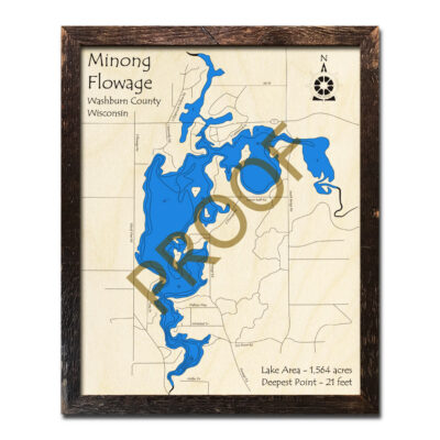 Minong Flowage 3d wood map