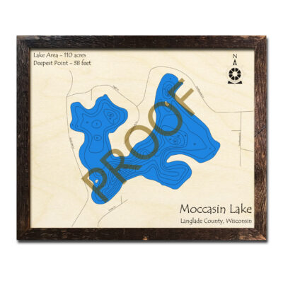 Moccasin Lake 3d wood map