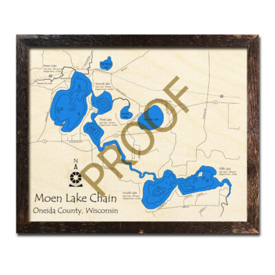 Moen Lake Chain 3d wood map