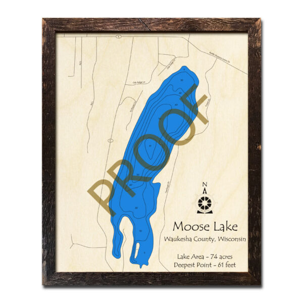 Moose Lake WI 3d wood map