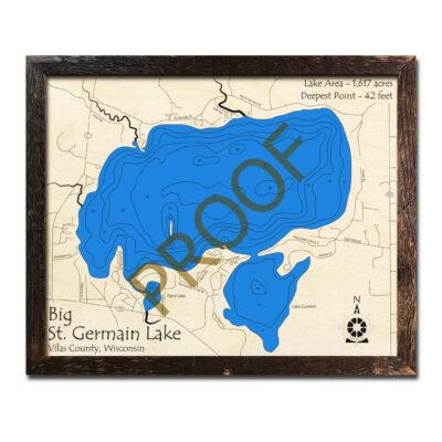 St Germain Lake 3d wood map