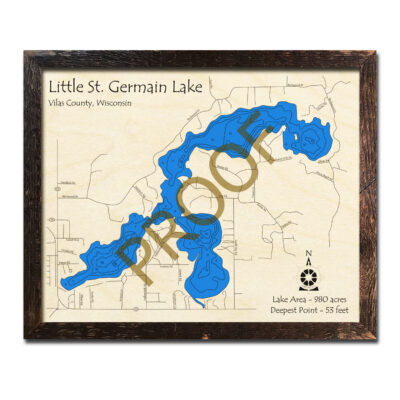 Little St Germain Lake 3d wood map