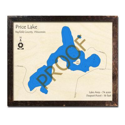 Price Lake WI 3d wood map
