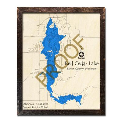 Red Cedar Lake 3D WOOD MAP