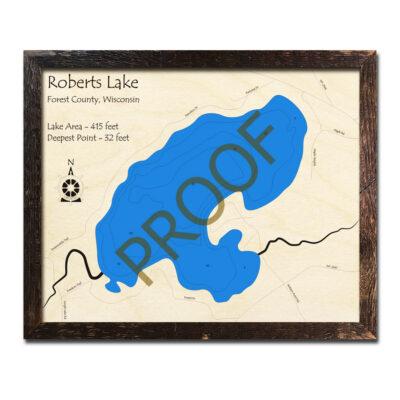 Roberts Lake WI 3d wood map