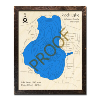 Rock Lake WI 3d wood map