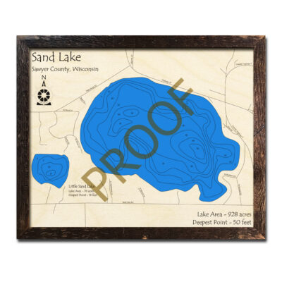 Sand Lake 3d wood map Wisconsin