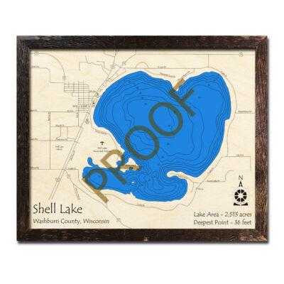 Shell Lake 3d wood map WI