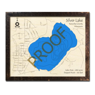 Silver Lake WI 3d wood map
