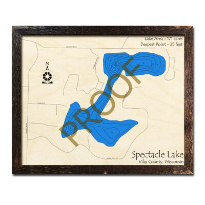 Spectacle Lake WI 3d wood map