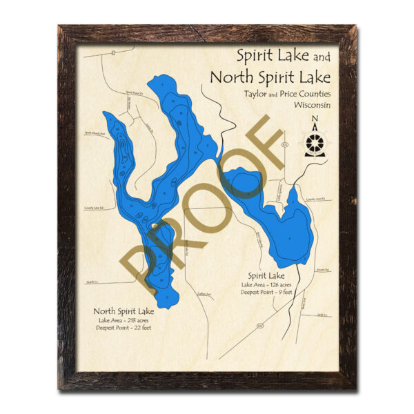 Spirit Lake WI 3d wood map