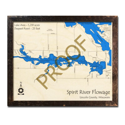 Spirit River Flowage 3d wood map