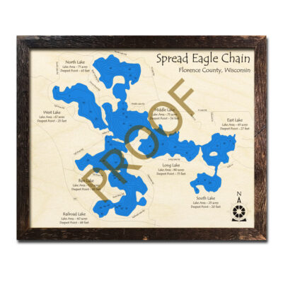 Spread Eagle Chain of Lakes 3d wood map