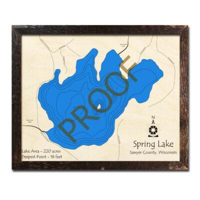 Spring Lake WI 3d wood map